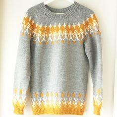 12 Inspiring Icelandic Sweater Patterns - Flax & Twine Just because some of these are not English, doesn't mean you can not make them. Learn to make a yoke sweater by Elizabeth Zimmerman and you have it made! Fair Isle Knitting Patterns, Fair Isle Pattern, Sweater Knitting Patterns, Knitting Designs, Knit Patterns, Free Knitting, Knitting Machine, Knitting Tutorials, Loom Knitting