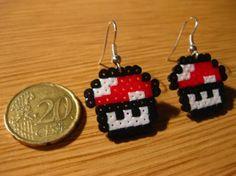 Plantilla Hama Beads de Pendientes de Setas - Super Mario Bros | Creaciones con Hama Beads