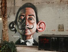 """Salvador Dali"" Street Art, NYC by Germany-based graffiti and street artist Dmitri Spiros Urban Street Art, 3d Street Art, Amazing Street Art, Street Artists, Amazing Art, Murals Street Art, Street Art Graffiti, Mural Art, Banksy"