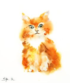 Kitten Fine Art Print of Original Watercolor Painting by SophieRR, $8.00