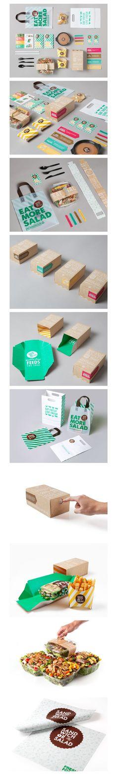 Sandwich Or Salad Brand Identity Packaging Print Blanc Sur Craft Paper Surimpression En Couleur Brand Identity Design, Graphic Design Branding, Corporate Design, Typography Design, Logo Design, Lettering, Corporate Identity, Print Design, Cool Packaging
