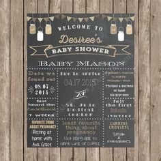 Custom Chalkboard Burlap Mason Jar Burlap Bunting Baby Shower Sign Printable