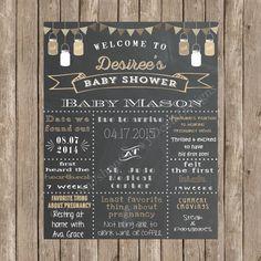 Custom Chalkboard Burlap Mason Jar Burlap Bunting Baby Shower Sign Printable