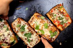 French Bread Pizza: 2 ways by joy the baker, via Flickr (traditional and bbq chicken)