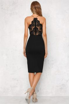 You'll be the favourite at any party in the Golden Child Midi Dress! With a beautiful lace decorated bust on thin, stretchy straps this style has a contrasting waist band to perfectly sculpt your silhouette. With an invisible zipper running through the back and a slightly padded bust for shape and support. Couple with a cute envelope clutch and plum lipstick! Dress. Not lined. Cold hand wash only. Model is standard XS and is wearing XS. True to size. Stretchy fabric. Polyester.