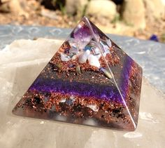 Amethyst Orgonite Pyramid by Violet Flame Orgone  Crown