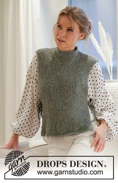 Ravelry: City Cover pattern by DROPS design Cardigan Au Crochet, Knit Cowl, Knitted Poncho, Knit Crochet, Drops Design, Easy Knitting, Knitting Patterns Free, Knit Patterns, Laine Drops