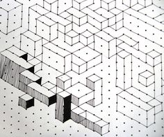 Drawings Cuboids lesson, op art kids love it graph paper - These 10 year olds have mastered the art of 3 dimensional cubes and cuboids Op Art Lessons, Pattern Texture, Graph Paper Art, Art Worksheets, Ecole Art, Math Art, Illusion Art, Middle School Art, Art Graphique