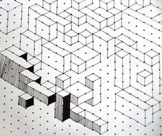 Cuboids lesson, op art kids love it  graph paper