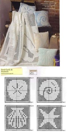 filet crochet shell pattern | sea shells - would be nice if framed on a light blue background in a ...