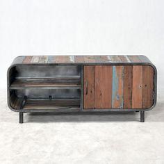 Mobile TV 1 anta in ferro e legno massello di teak certificato FSC 100% riciclato da barche dismesse.