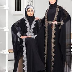 Faimatou Abaya - Black Butterfly Abaya Gold or Silver Embroidery Muslim Dress Code, Butterfly Abaya, Black Abaya, Islam Beliefs, Islam Religion, Chiffon Material, Islamic Clothing, Muslim Women, Hijab Fashion