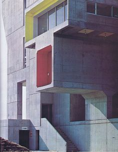 Kenzo Tange | #Modern #Concrete #Architecture with color accents.