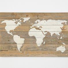 Reclaimed Wood World Map Wall Art 38x24