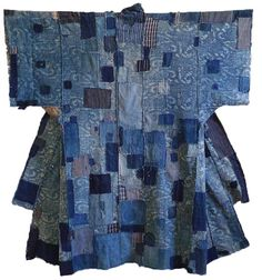 """Japanese Embroidery Kimono Sri Threads_Japanese patched boro kimono - I'm noticing these days quite a few references to the idea of """"shopping your own closet"""" and """"mend don't spend,"""" something that resonates with me personally as I get older. Shibori, Boro Stitching, Bleu Indigo, Visible Mending, Kimono Design, Japanese Textiles, Japanese Embroidery, Yukata, Piece Of Clothing"""