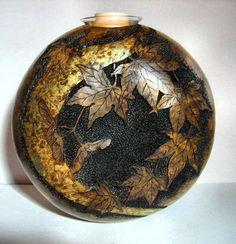 Japanese Maple Leaf Gourd with Gold Leaf by ClayWorksbyTRhoads, $120.00