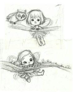 Kei-Acedera — cute little fairy sketches Fairy Drawings, Cute Drawings, Fantasy Drawings, Animal Sketches, Drawing Sketches, Sketching, Fantasy Kunst, Fantasy Art, Fairy Sketch
