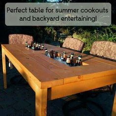 Backyard table with built-in cooler