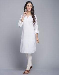 Cotton Reverse Applique Mini Kurta