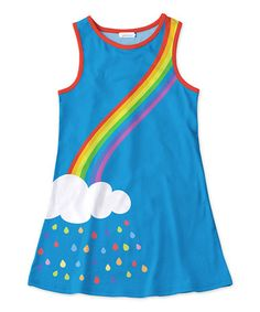 Loving this Blue & White Rainbow Cloud Tank Dress - Toddler & Girls on #zulily! #zulilyfinds