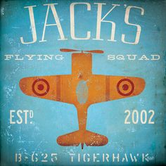 Children's Art flying squadron airplane custom colors and name graphic art gallery wrap on canvas 12 x 12