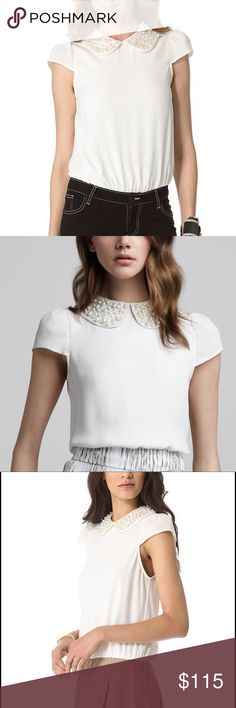 Alice + Olivia blouse Alice + Olivia Bali Top with Pearl Bead Embellished Peter Pan Collar. Collar is white lace with pearls. Back zip closure.  In perfect shape. Worn once! Alice + Olivia Tops Blouses