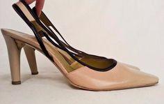 Charles Jourdan Beige Tan Leather Slingback Heels with Black Accents Sz 9 #CharlesJourdan #Slingbacks