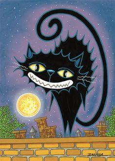 Halloween - Gato preto, técnica com tinta guache e pastel seco, sobre papel cor - ano de 2008 -Projeto gráfico para livro.