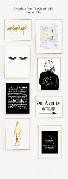 Girl Boss Illustration Art prints on Etsy to decor home office and bedrooms. Perfect gift idea for her - Fashion Illustration black and white Wall art Home decor