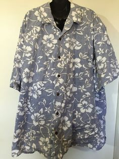 Hilo Hattie Men's 5 XL Reverse Print Hibiscus Hawaiian Shirt Blue White Tan  #HiloHattie #Hawaiian