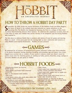 'The Hobbit: An Unexpected Journey' – How To Throw A Hobbit Day Party | Flicks and Bits ----------- Even I'm amazed at the level of Geek I have reached, because I totally want to do this.
