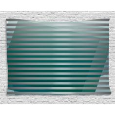 Modern Decor Tapestry, Computer Graphic Striped Minimalist Virtual New Media Style Digital Art, Wall Hanging for Bedroom Living Room Dorm Decor, 60W X 40L Inches, Silver Jade Green, by Ambesonne #minimalistdecor
