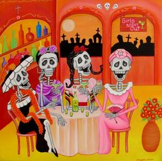 In the after life girl friends/las comadres go out on a girls night out. Day Of The Dead Artwork, Pierrot, Sugar Skull Art, Sugar Skulls, Chicano Art, After Life, Flash Art, Mexican Folk Art, Mexican Artwork