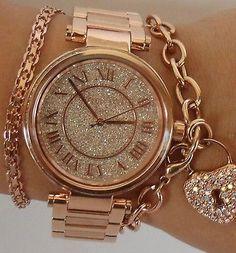 Michael Kors Para Mujer Skylar Rosa Dorado de Pulsera Glitz 42mm Watch MK5868 $350 | eBay