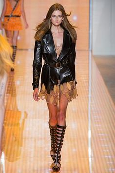 Versace Spring 2013 Leather Jacket With Gladiator Boots