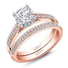 Wedding set from the Romance Collection. A traditional design with a modern twist, this rose and white gold engagement ring features two rows of micro diamonds set into the shoulders of the ring. Created for a 1 carat center stone. A matching rose gold diamond band is the perfect complement. Total diamond weight of engagement ring: .13 carats, band: .15 carats. Available in 14K or 18K white, yellow, or rose gold, and platinum. LC5446RG WC5446RG