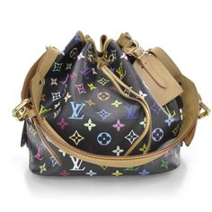 This is an authentic LOUIS VUITTON Multicolor Petit Noe in Black.   The bold features and exceptional quality of this Louis Vuitton classic Noe lend a look of chic sophistication for day or evening.