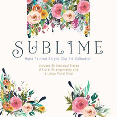 Hand Painted Flower Clip Art Collection Sublime by CreateTheCut