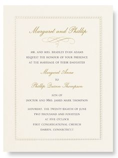 3. INVITATION Ecru Beaded Bordered Wedding Invitation with French Flap Envelope by William Arthur