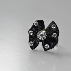 Black bow coctail ring, Swarovski stones by RikaUnicaJewellery on Etsy