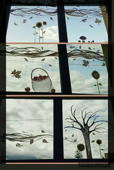 Autumn window painting