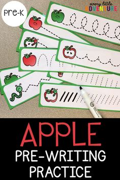 A fun apple themed pre-writing activity for preschool and pre-k. Perfect for back to school! For more Early Literacy activities, check out Every Little Adventure. Preschool Apple Activities, Preschool Apple Theme, Preschool Writing, Pre K Activities, Fall Preschool, Writing Activities, Pre Writing Practice, Apple Classroom, September Preschool