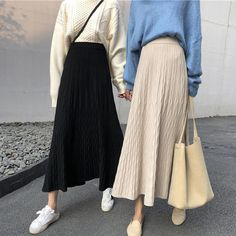 Shopherd A-Line Midi Knit Skirt Clothing > Dresses & Skirts Shopherd Skirt Muslim Fashion, Modest Fashion, Asian Fashion, Skirt Fashion, Fashion Outfits, Korean Fashion Minimal, Street Hijab Fashion, Ropa Upcycling, Hijab Styles