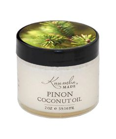 Piñon Infused Coconut Oil by Kuumba Made. Piñon has a warm and earthy scent, and a clean aroma that smells like the high deserts of the west. Helpful in treating eczema and psoriasis. Also effective in soothing sore muscles or breaking up congestion in the chest.