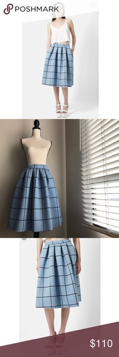 """TOPSHOP Blue Windowpane Midi Skirt in Size 6 Size 6 Approximately 26"""" Length Unlined 63"""" Polyester, 37"""" Viscose Machine Wash Cold - Dry Flat  Worn Once Minimal Signs of Wear: Please see pictures  Excellent Used Condition Topshop Skirts"""