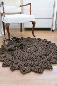 ROUND BEDROOM RUG Handmade Crochet Nylon Chocolate Brown Home Decor. $50.00, via Etsy.