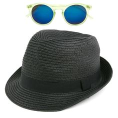 Pop Fashionwear Unisex Straw Fedora Vintage Sun Visor Hat with Free Sunglasses