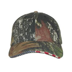 CTM® Mossy Oak Break-Up with American Flag Trim. Fully adjustable up with Velcro closure. 1 size fits most