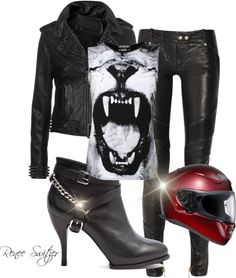 """""""Biker Babe"""" by renee-switzer ❤ liked on Polyvore"""