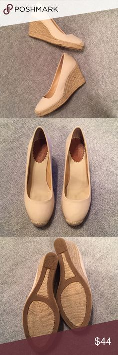 """J. CREW CANVAS ESPADRILLE WEDGES - LINEN Product Details: Canvas upper. 3 3/4"""" heel. Rubber sole. Import.  Size 8  Condition – Excellent (like NEW - worn twice!) J. Crew Shoes Wedges"""